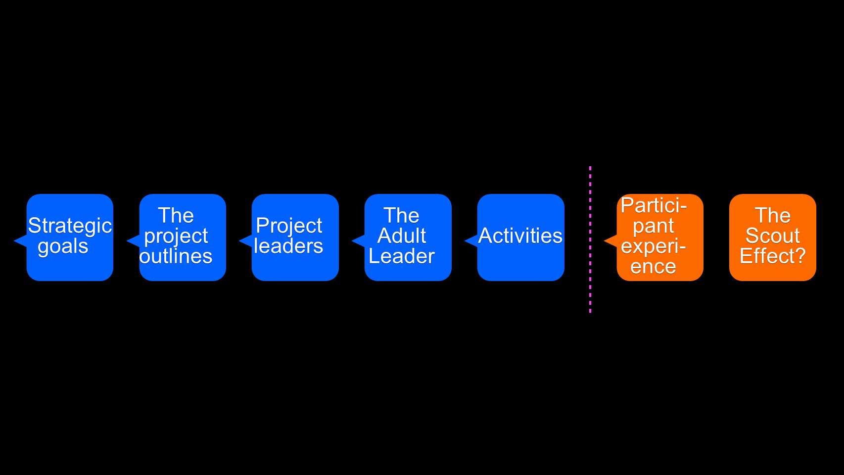 Partici- pant experi- ence The Adult Leader Projectleaders The project outlines Strategic goals The Scout Effect.