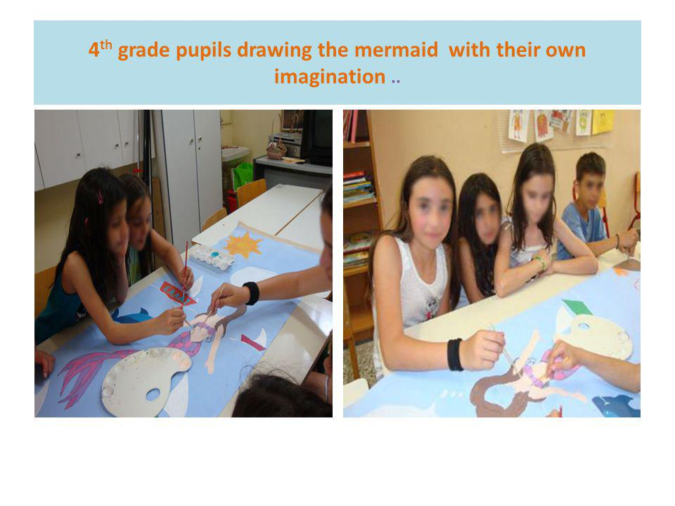 4 th grade pupils drawing the mermaid with their own imagination..