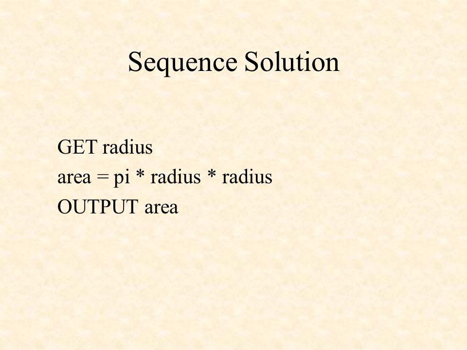 Sequence Solution GET radius area = pi * radius * radius OUTPUT area