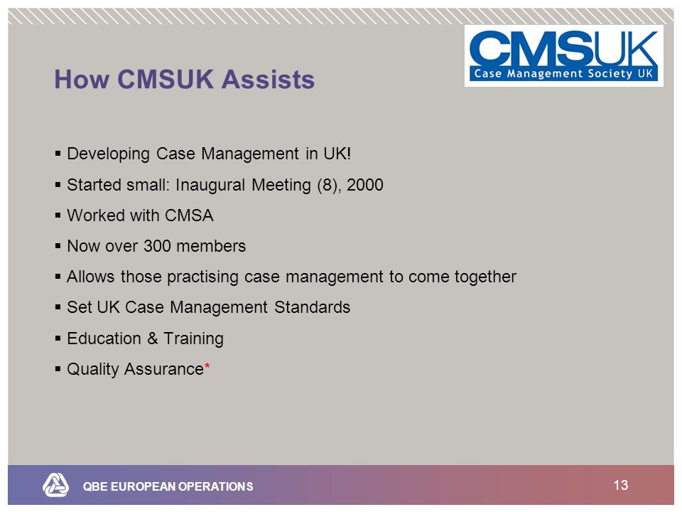 QBE EUROPEAN OPERATIONS 13 How CMSUK Assists  Developing Case Management in UK.