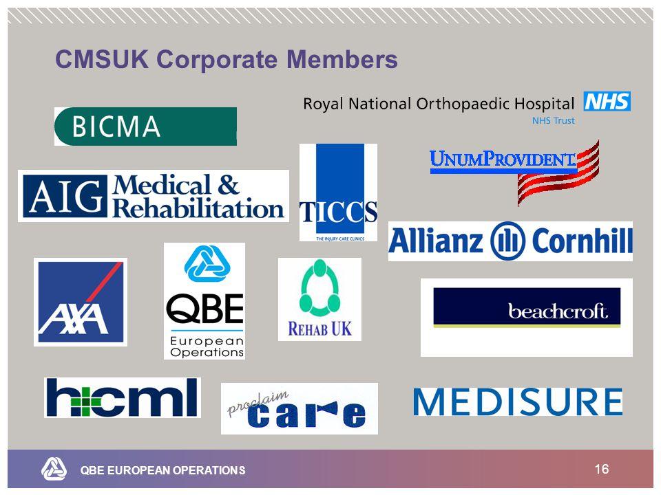 QBE EUROPEAN OPERATIONS 16 CMSUK Corporate Members