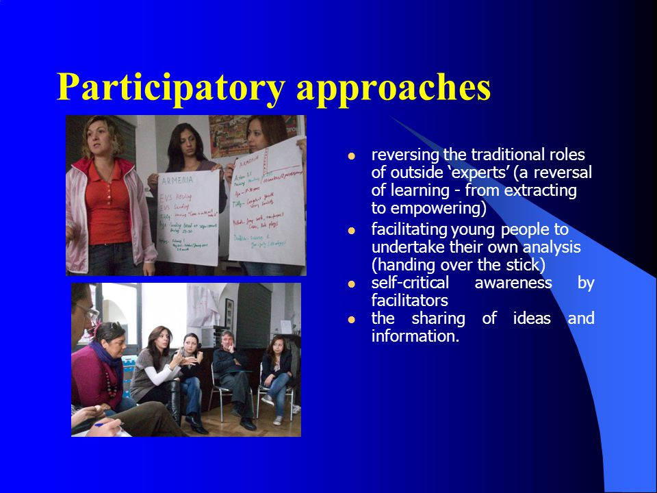 Active participation is important for: to increase young people in the civic life of their community; to increase their participation in the system of