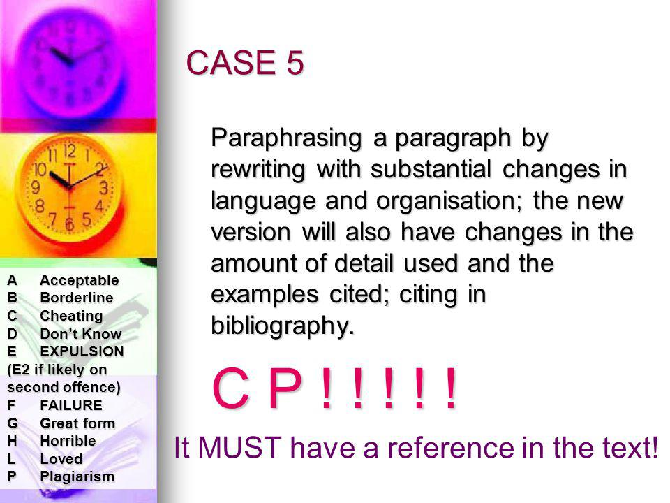 CASE 5 Paraphrasing a paragraph by rewriting with substantial changes in language and organisation; the new version will also have changes in the amount of detail used and the examples cited; citing in bibliography.
