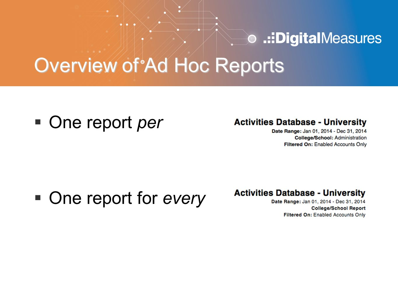 Overview of Ad Hoc Reports  One report per  One report for every