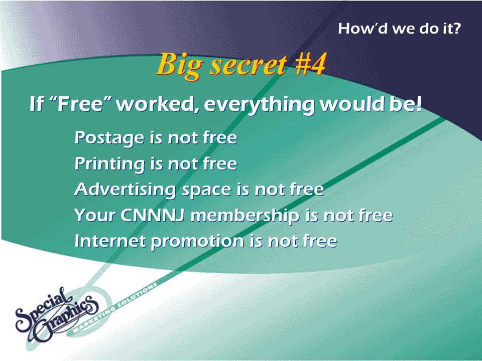 Big secret #4 If Free worked, everything would be.
