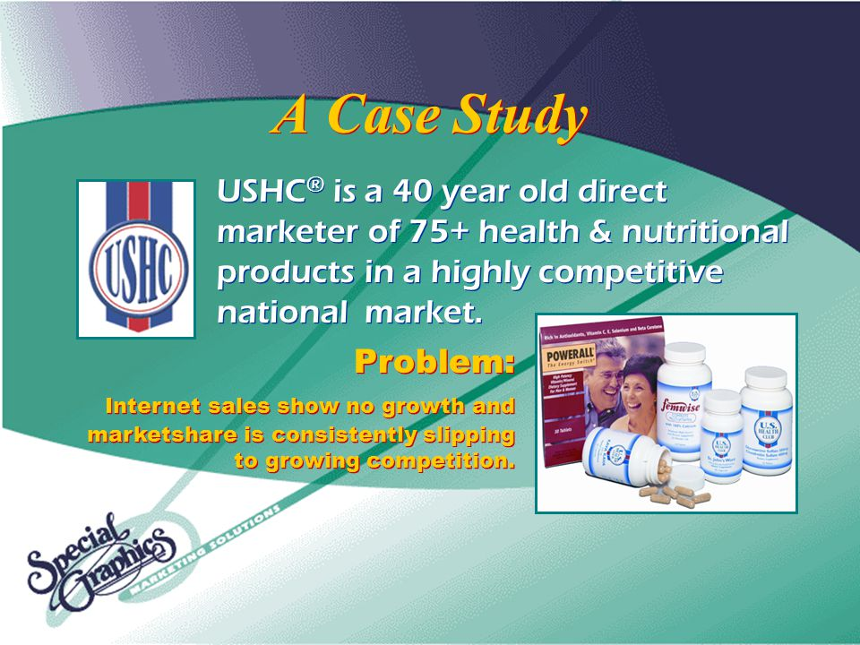A Case Study USHC ® is a 40 year old direct marketer of 75+ health & nutritional products in a highly competitive national market.