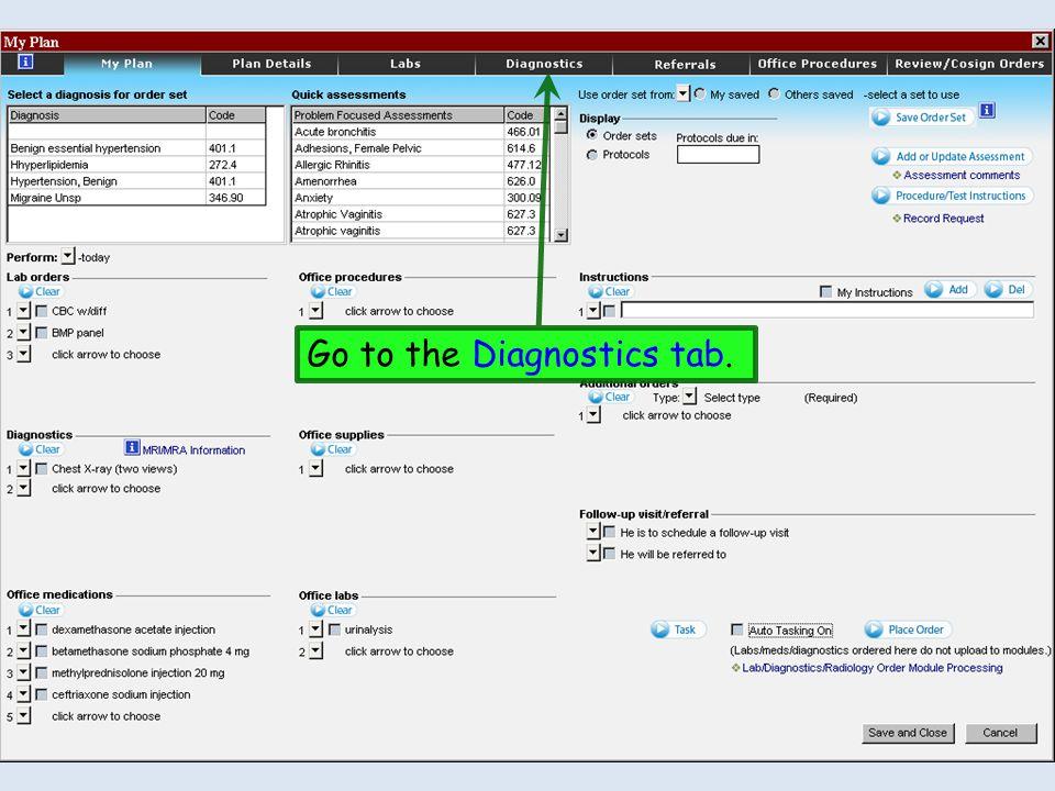 Go to the Diagnostics tab.