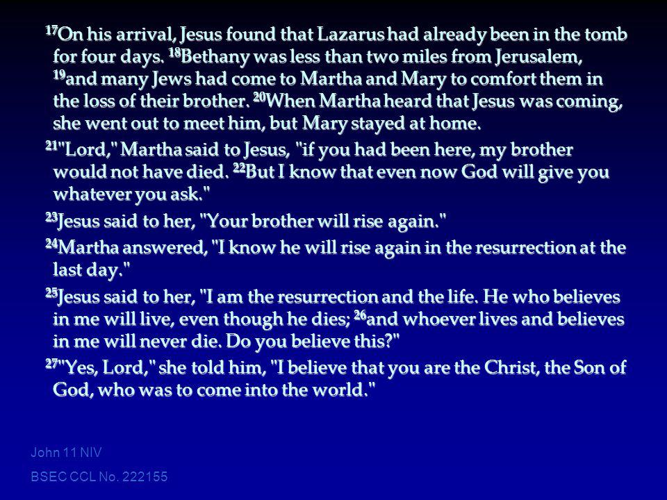 BSEC CCL No. 222155 17 On his arrival, Jesus found that Lazarus had already been in the tomb for four days. 18 Bethany was less than two miles from Je