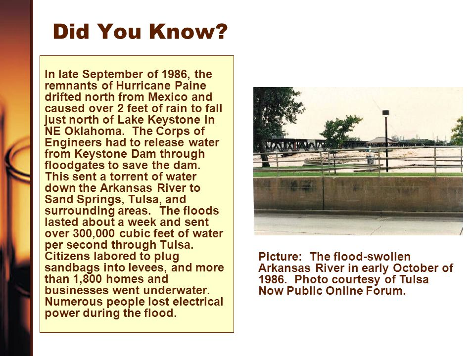 Did You Know? In late September of 1986, the remnants of Hurricane Paine drifted north from Mexico and caused over 2 feet of rain to fall just north o