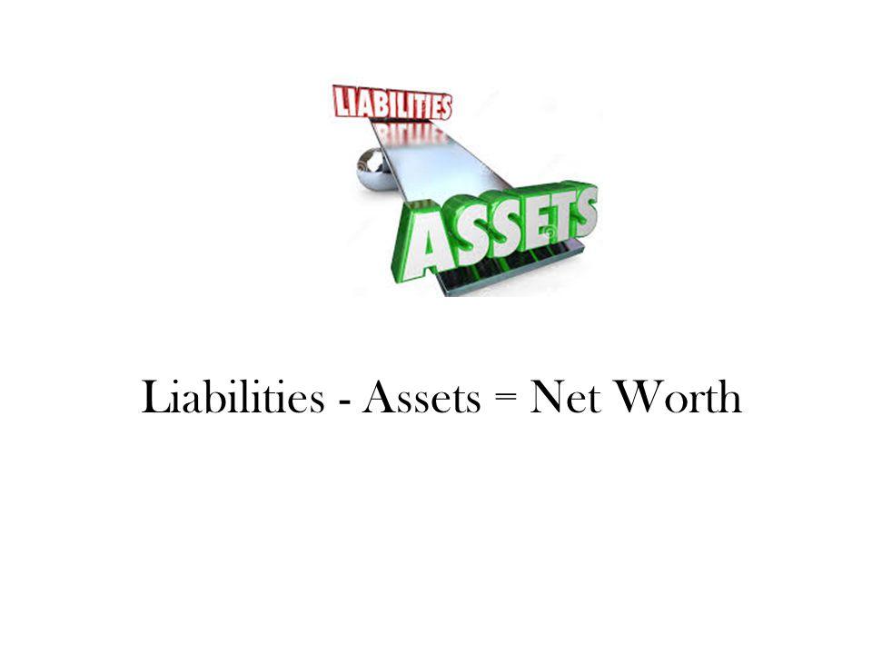 Liabilities - Assets = Net Worth