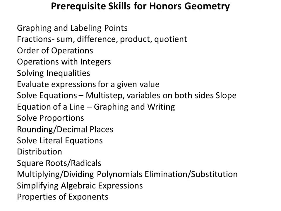 Prerequisite Skills for Honors Geometry Graphing and Labeling Points Fractions- sum, difference, product, quotient Order of Operations Operations with Integers Solving Inequalities Evaluate expressions for a given value Solve Equations – Multistep, variables on both sides Slope Equation of a Line – Graphing and Writing Solve Proportions Rounding/Decimal Places Solve Literal Equations Distribution Square Roots/Radicals Multiplying/Dividing Polynomials Elimination/Substitution Simplifying Algebraic Expressions Properties of Exponents