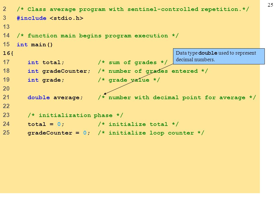 25 2 /* Class average program with sentinel-controlled repetition.*/ 3 #include 13 14 /* function main begins program execution */ 15 int main() 16{ 1