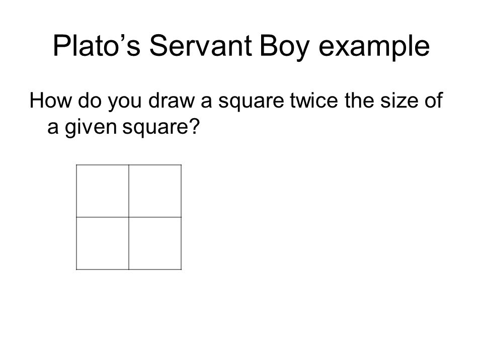 Plato's Servant Boy example How do you draw a square twice the size of a given square?