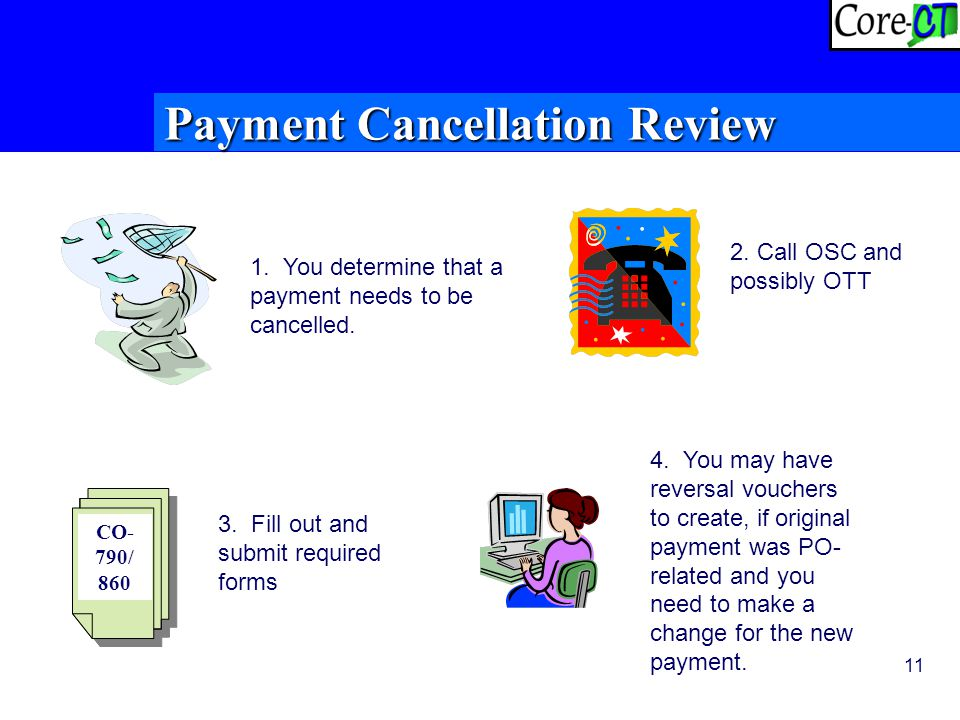 11 Payment Cancellation Review 1. You determine that a payment needs to be cancelled.