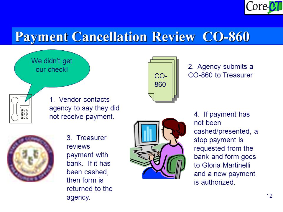12 Payment Cancellation Review CO-860 We didn't get our check.