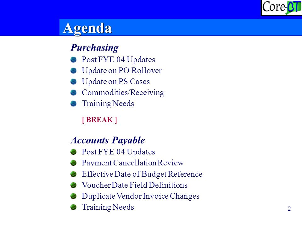 2 Purchasing Post FYE 04 Updates Update on PO Rollover Update on PS Cases Commodities/Receiving Training Needs [ BREAK ] Accounts Payable Post FYE 04 Updates Payment Cancellation Review Effective Date of Budget Reference Voucher Date Field Definitions Duplicate Vendor Invoice Changes Training Needs Agenda