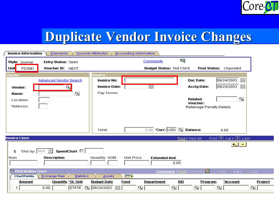 25 Duplicate Vendor Invoice Changes