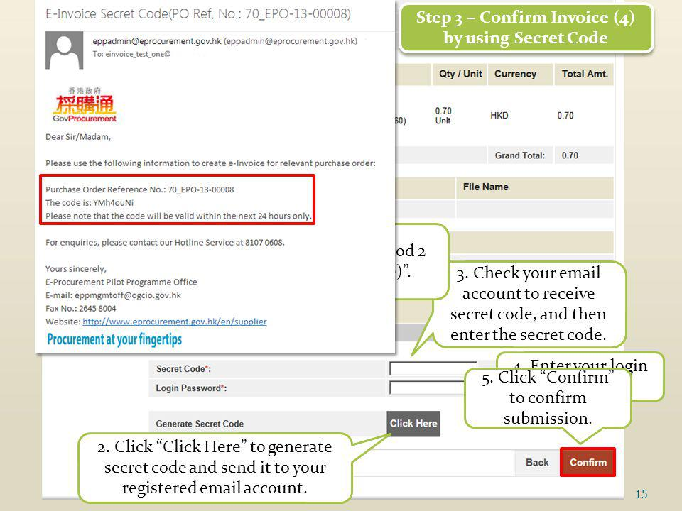 15 Step 3 – Confirm Invoice (4) by using Secret Code Step 3 – Confirm Invoice (4) by using Secret Code 3.