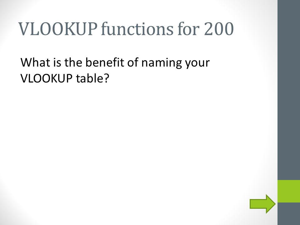 VLOOKUP functions for 200 What is the benefit of naming your VLOOKUP table?