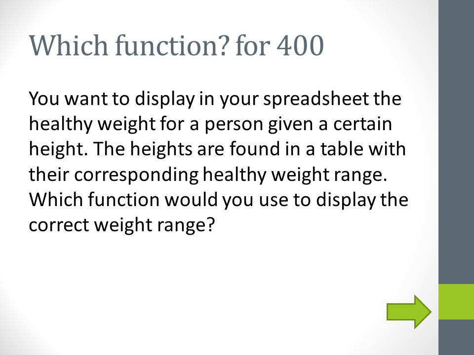 Which function? for 400 You want to display in your spreadsheet the healthy weight for a person given a certain height. The heights are found in a tab