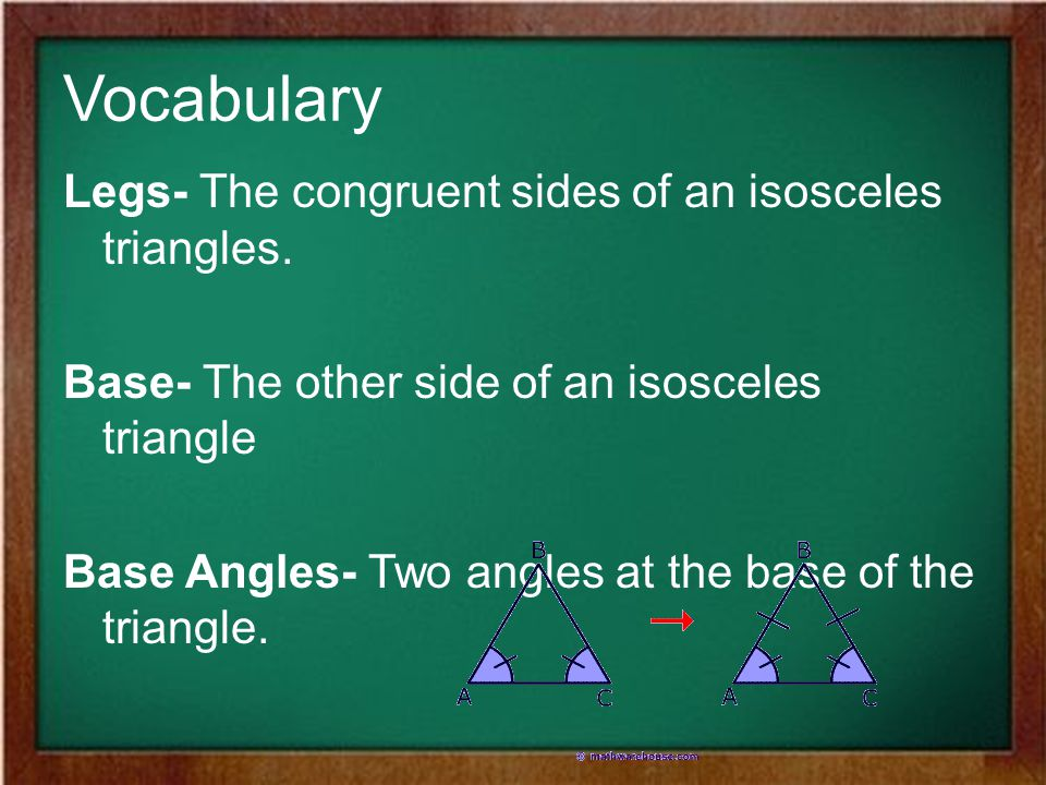 Vocabulary Legs- The congruent sides of an isosceles triangles.