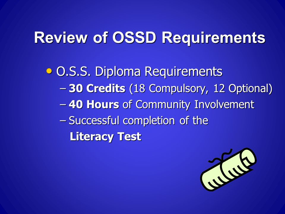 Review of OSSD Requirements O.S.S. Diploma Requirements O.S.S.