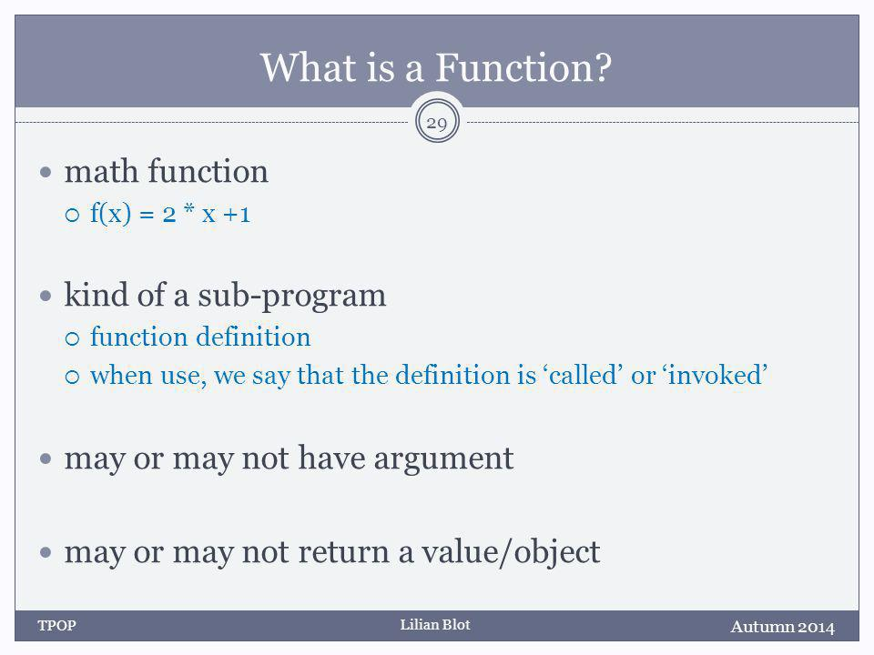 Lilian Blot What is a Function.
