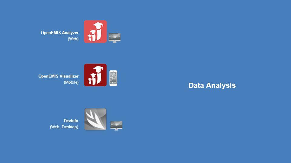 Data Management Data Analysis DevInfo (Web, Desktop) OpenEMIS Visualizer (Mobile) OpenEMIS Analyzer (Web)