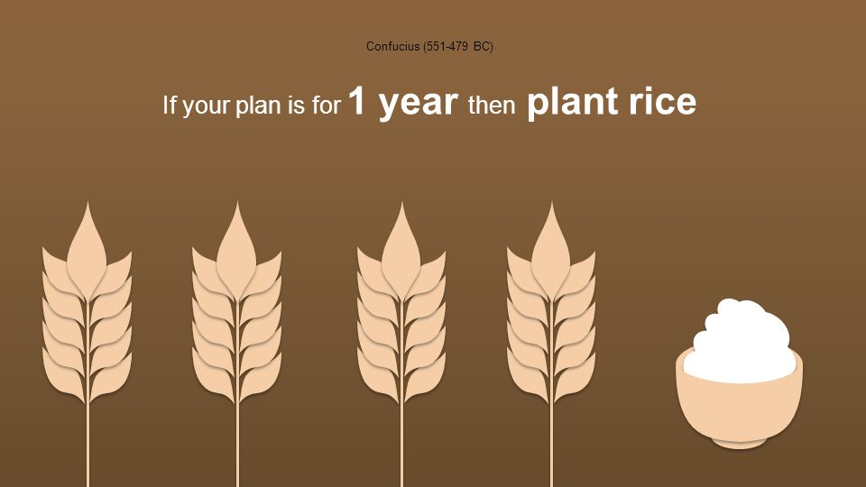 Confucius (551-479 BC) If your plan is for 1 year then plant rice