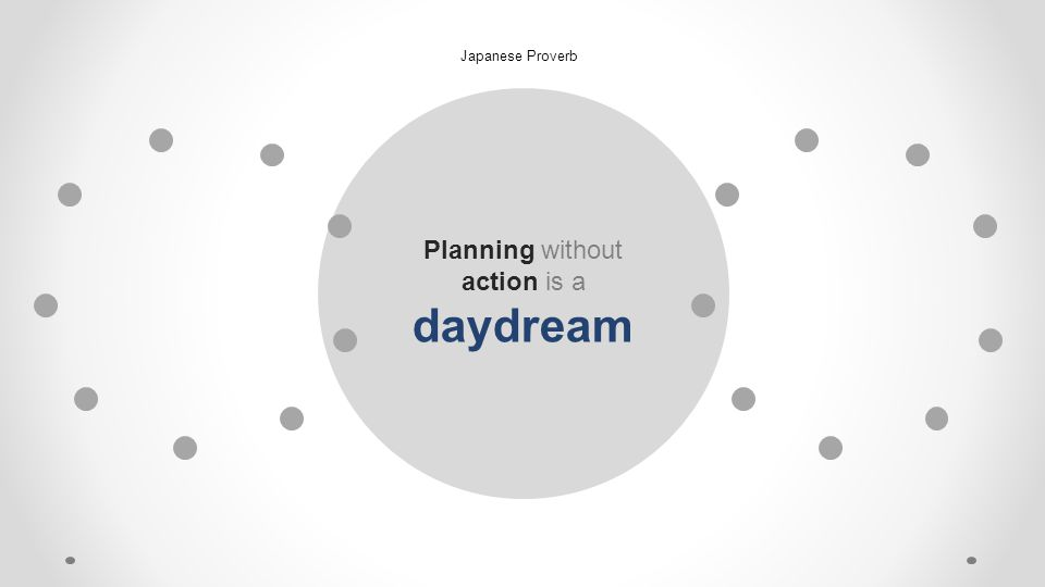 Planning without action is a daydream Japanese Proverb
