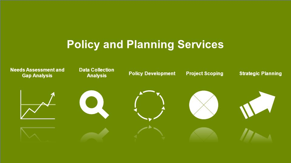 Policy and Planning Services Needs Assessment and Gap Analysis Data Collection Analysis Policy DevelopmentProject ScopingStrategic Planning