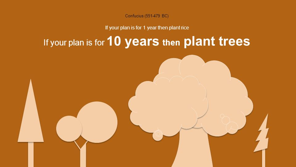 Confucius (551-479 BC) If your plan is for 10 years then plant trees If your plan is for 1 year then plant rice