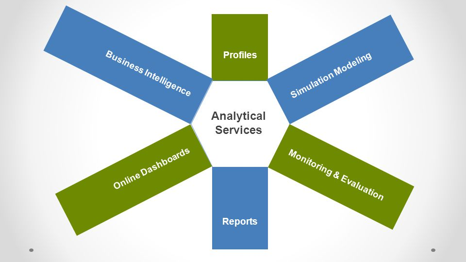 Analytical Services Profiles Monitoring & Evaluation Reports Business Intelligence Online Dashboards Simulation Modeling