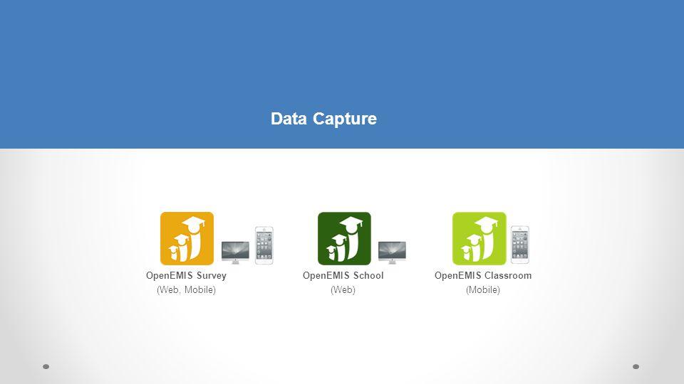 OpenEMIS School (Web) OpenEMIS Classroom (Mobile) OpenEMIS Survey (Web, Mobile) Data Capture