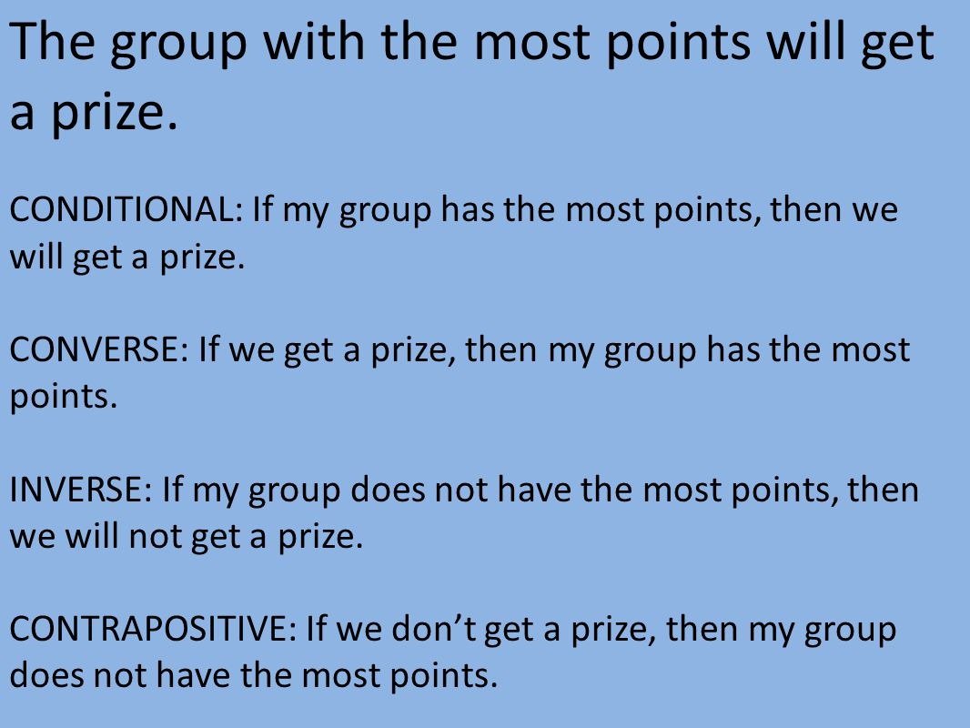 The group with the most points will get a prize.