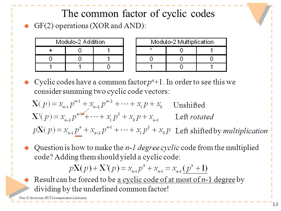 Timo O. Korhonen, HUT Communication Laboratory 13 The common factor of cyclic codes u GF(2) operations (XOR and AND): u Cyclic codes have a common fac