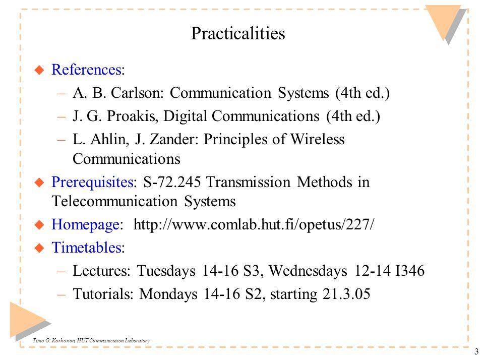 Timo O. Korhonen, HUT Communication Laboratory 3 Practicalities u References: –A.