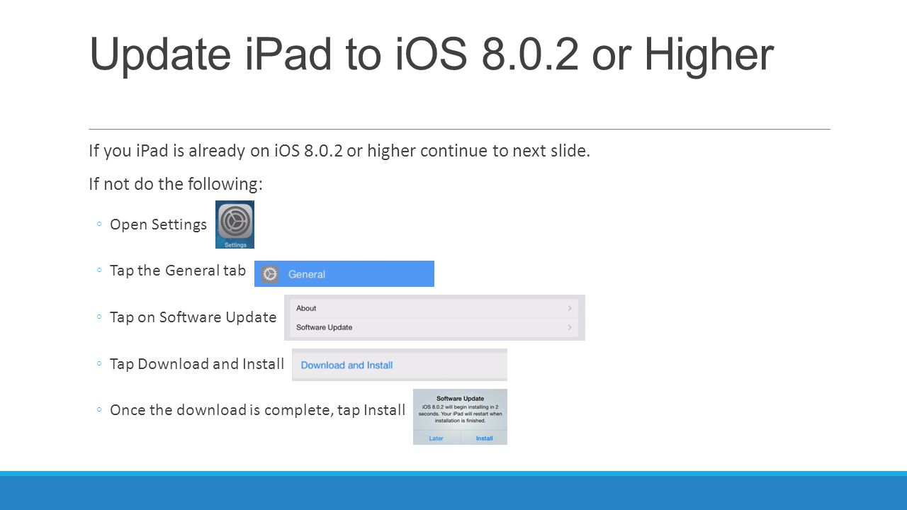 Update iPad to iOS 8.0.2 or Higher If you iPad is already on iOS 8.0.2 or higher continue to next slide.
