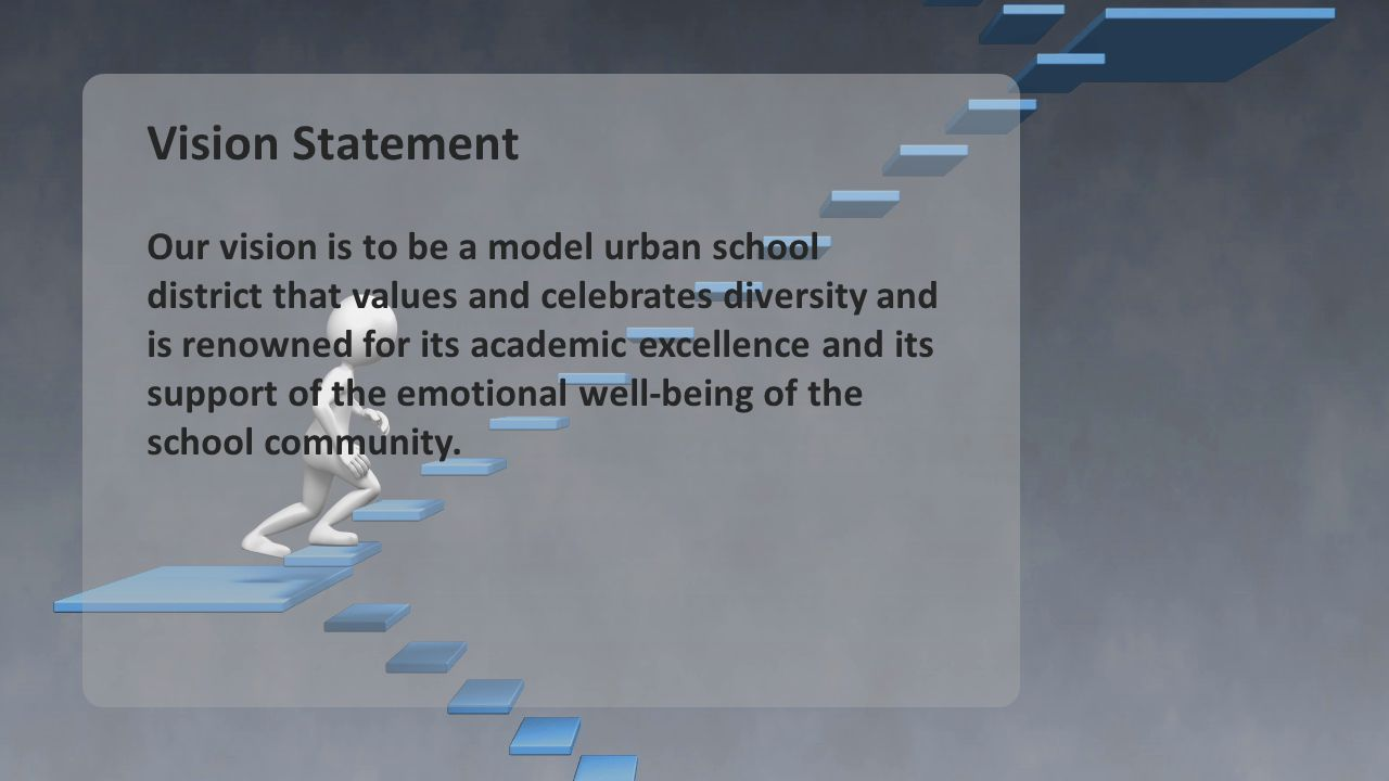 Vision Statement Our vision is to be a model urban school district that values and celebrates diversity and is renowned for its academic excellence and its support of the emotional well-being of the school community.
