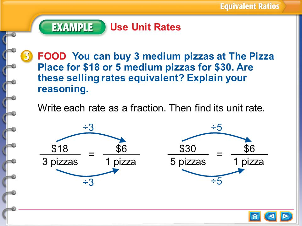 Example 3 Use Unit Rates Answer:Since the unit rates are the same,, the rates are equivalent.