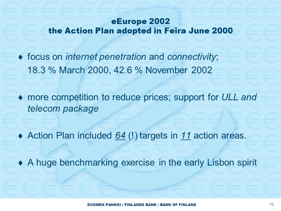 SUOMEN PANKKI | FINLANDS BANK | BANK OF FINLAND 13 eEurope 2002 the Action Plan adopted in Feira June 2000  focus on internet penetration and connectivity; 18.3 % March 2000, 42.6 % November 2002  more competition to reduce prices; support for ULL and telecom package  Action Plan included 64 (!) targets in 11 action areas.