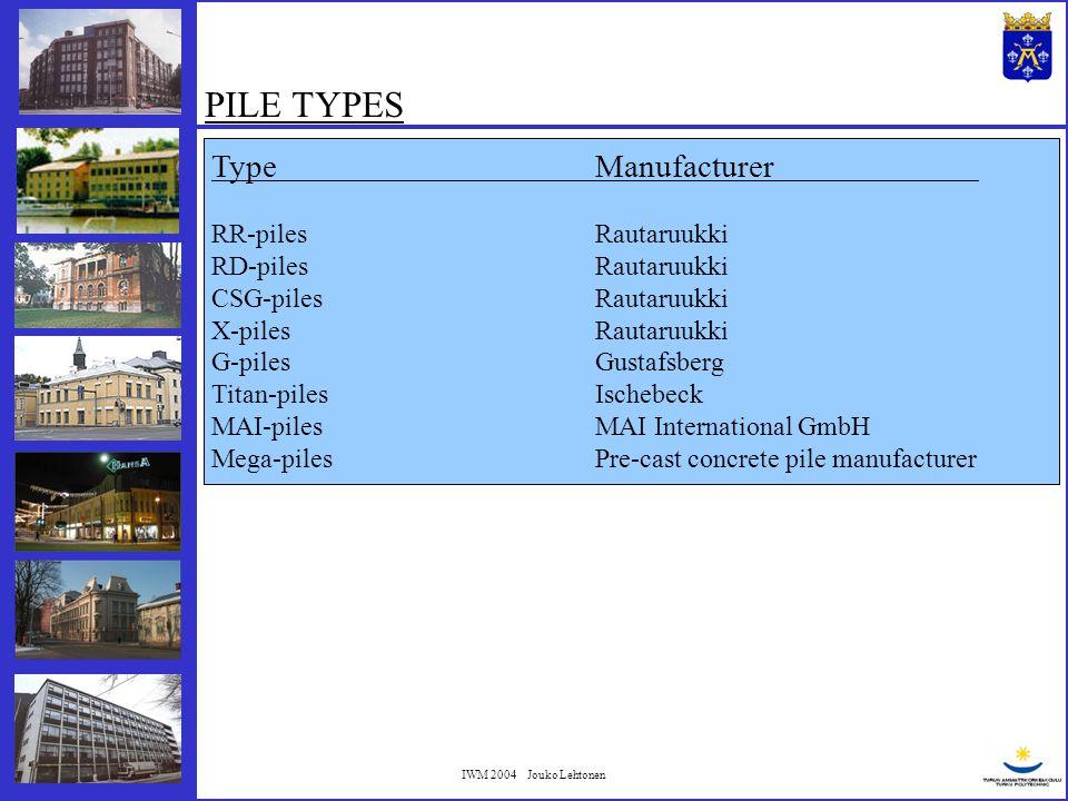 IWM 2004 Jouko Lehtonen PILE TYPES TypeManufacturer RR-pilesRautaruukki RD-pilesRautaruukki CSG-pilesRautaruukki X-pilesRautaruukki G-pilesGustafsberg