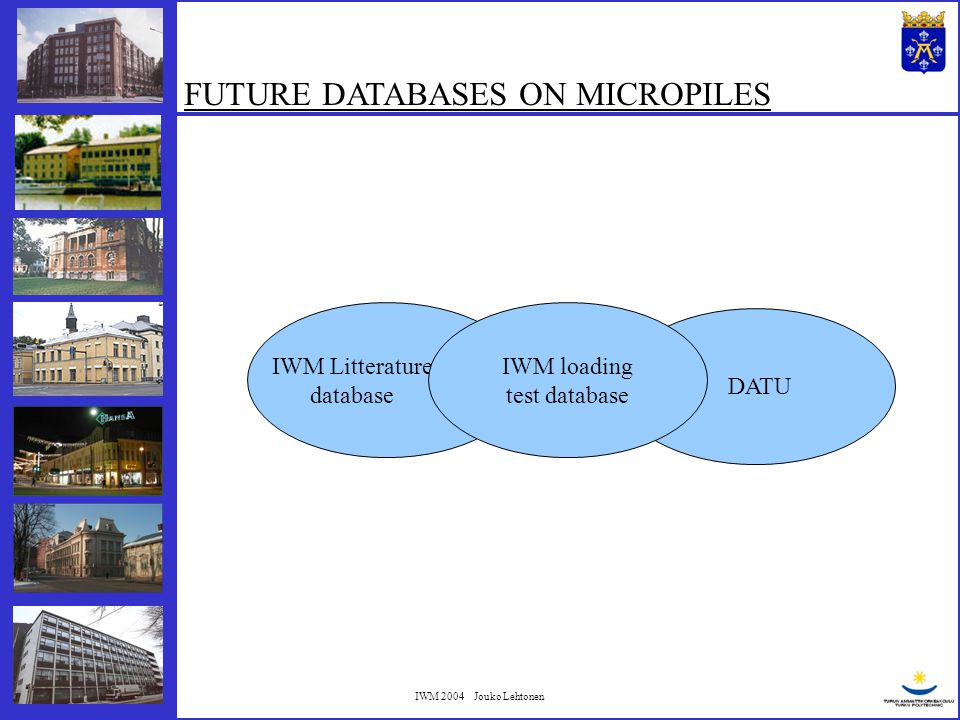 IWM 2004 Jouko Lehtonen FUTURE DATABASES ON MICROPILES IWM Litterature database IWM loading test database DATU
