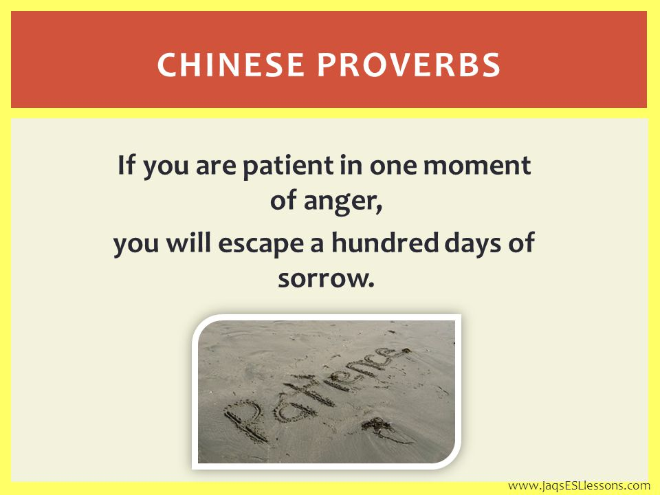 If you are patient in one moment of anger, you will escape a hundred days of sorrow.