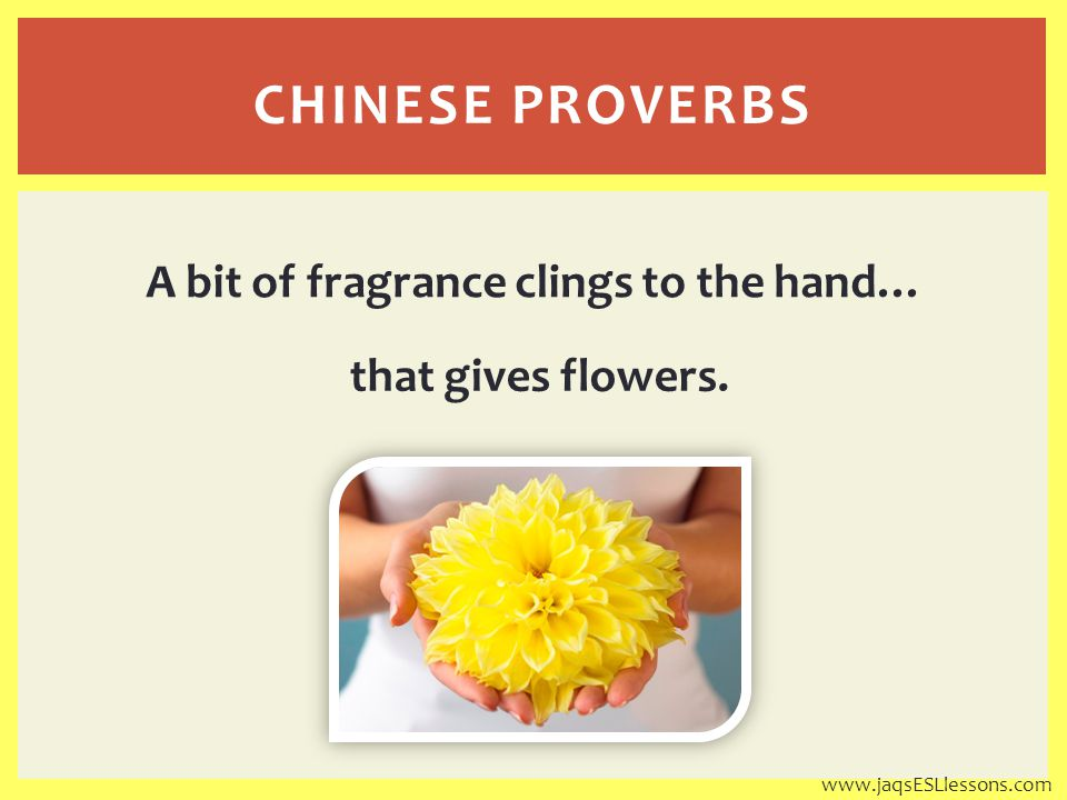 that gives flowers. CHINESE PROVERBS A bit of fragrance clings to the hand… www.jaqsESLlessons.com