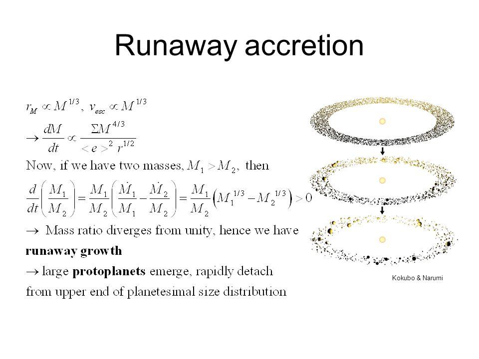 Runaway accretion Kokubo & Narumi