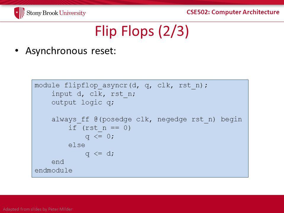 CSE502: Computer Architecture Flip Flops (2/3) Asynchronous reset: module flipflop_asyncr(d, q, clk, rst_n); input d, clk, rst_n; output logic q; always_ff @(posedge clk, negedge rst_n) begin if (rst_n == 0) q <= 0; else q <= d; end endmodule Adapted from slides by Peter Milder