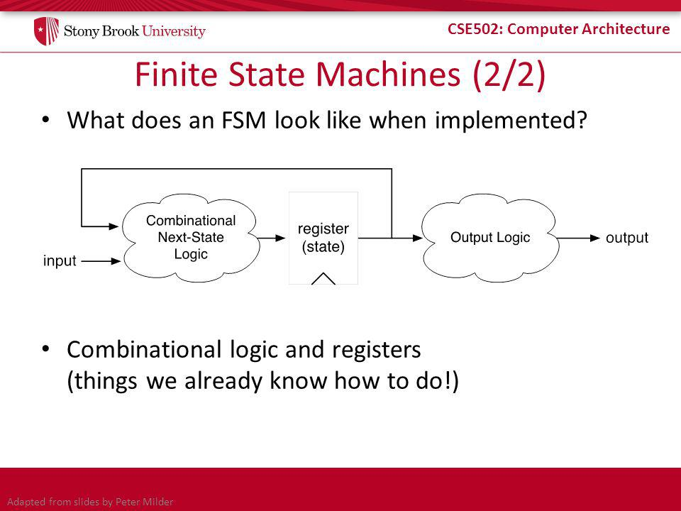 CSE502: Computer Architecture Finite State Machines (2/2) What does an FSM look like when implemented.