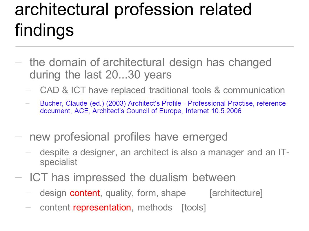 mid-research check point: architectural profession scene new profiles designer managerspecialistmore...