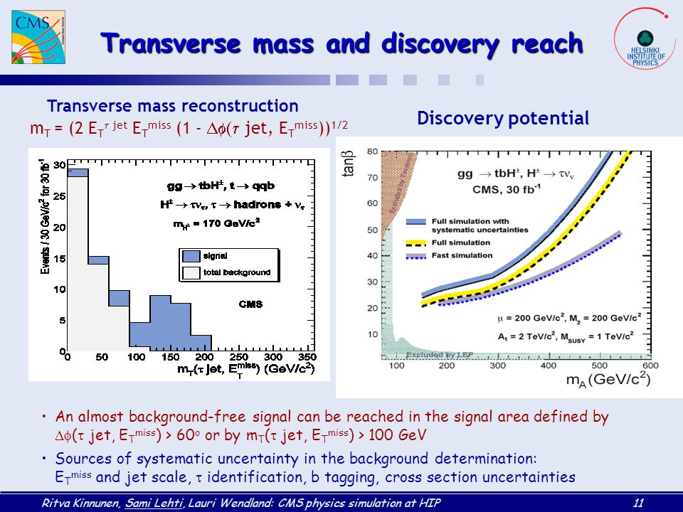 Ritva Kinnunen, Sami Lehti, Lauri Wendland: CMS physics simulation at HIP11 Transverse mass reconstruction m T = (2 E T  jet E T miss (1 -  jet, E T miss )) 1/2 Discovery potential Transverse mass and discovery reach An almost background-free signal can be reached in the signal area defined by  (  jet, E T miss ) > 60 o or by m T (  jet, E T miss ) > 100 GeV Sources of systematic uncertainty in the background determination: E T miss and jet scale,  identification, b tagging, cross section uncertainties